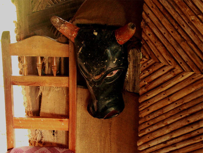 "Here, a bull head mask is on display in the home of a Boruca craftsman. During the Baile de los Diablitos, the man wearing the bull head mask or ""toro"" represents the Spanish and is taunted and chased by the others."