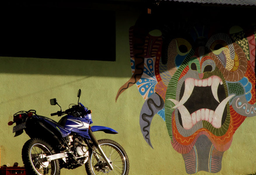 Because masks are so recognizable and important in the Boruca culture, images of the traditional designs are seen throughout the village. This painting is on the outside of one of the local bars.